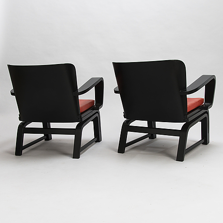 Carl-johan boman, a pair of early 1930's 'flexible chairs' for n. bomanin höyrypuusepäntehdas, turku.