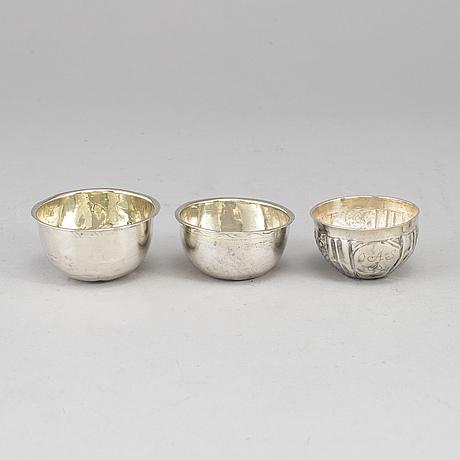Three swedish 18th/19th century silver tumblers, mark of.