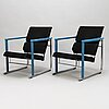 YrjÖ kukkapuro, a pair of 1980's 'experiment' arm chairs and coffee table for avarte.