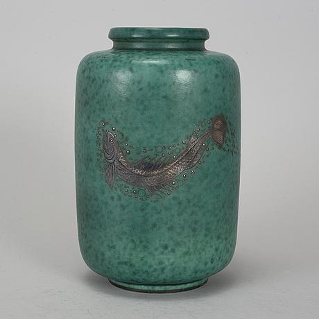 Wilhelm kÅge, an 'argenta' stoneware vase, gustavsberg.