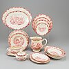 A part red 'bengali' creamware dinner service, rörstrand, 1948-56 (111 pieces).