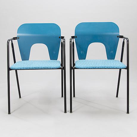 """YrjÖ kukkapuro, tuoleja, 4 kpl, """"funktus"""", avarte 1900-luvun loppu."""