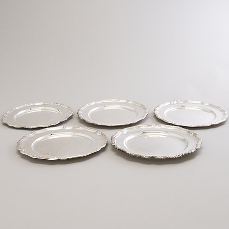 A set of five silver plates, mark of c. g. hallberg and k. anderson, stockholm, 1901-38.