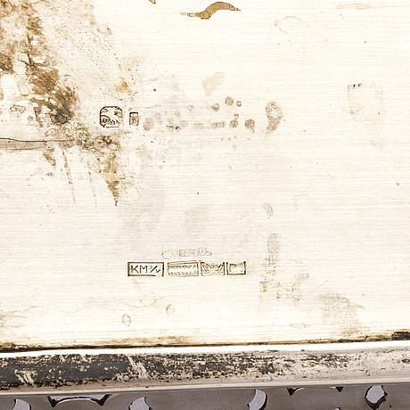Bricka, silver, portugal 1887-1937, finska kontrollstämplar, helsingfors 1973.