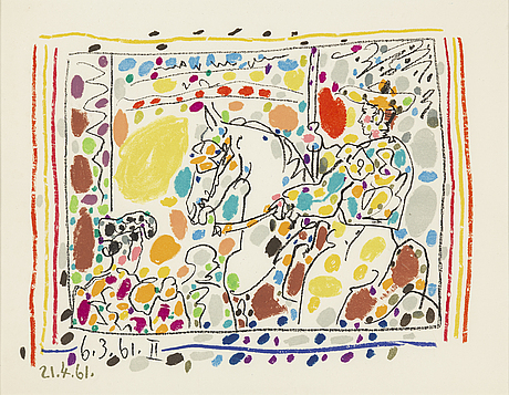 Pablo picasso, colour lithographe, dated 1961 in print.