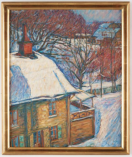 """Karl nordström, """"djurgårdsstuga i snö""""."""