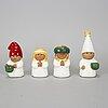 Lisa larson, ljusstakar/figuriner, 4 st, rörstrand/gustavsberg.