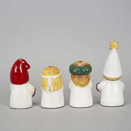 4 stoneware figurines by lisa larson, rörstrand/gustavsberg.