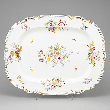 A large enamelled porcelain serving dish, late empire, second half of the 19th century.