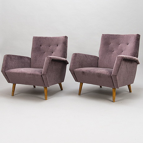 Gio ponti,  a pair of archairs manufactured by asko 1957-1959.