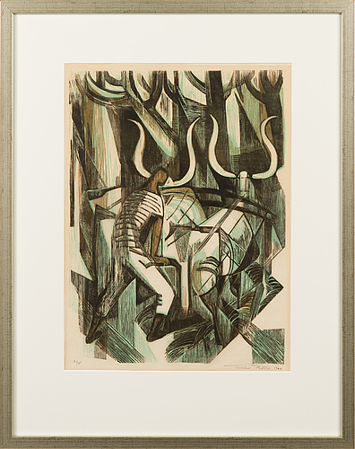 Tuulikki pietilÄ, woodcut, signed and dated 1960, numbered 12/35.