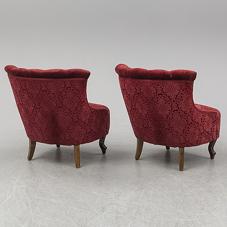A pair of easy chairs, early 20th century.
