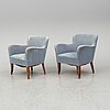 A pair of swedish easy chairs, first half of the 20th century.
