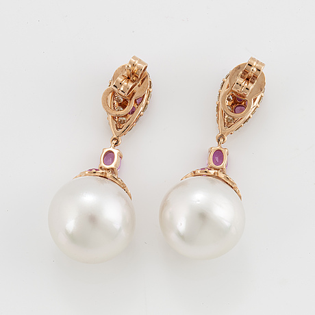 Cultured pearl, pink sapphire and brilliant-cut diamond earrings.