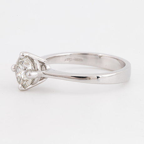 Solitaire brilliant-cut diamond ring.