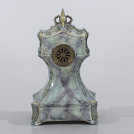 Mantel clock, ceramic, art nouveau / jugend, j.w. mijnlief utrecht fayence holland, early 20th century.