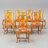Eight rococo style birch chairs, first half of the 20th century.