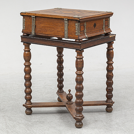 A ca 1800 wooden box on a later stand.