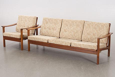 A sofa and an armchair, ope möbler, 1950-/1960's.