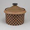 Stig lindberg, a stoneware lidded bowl, 'silur', gustavsberg, sweden 1960's.