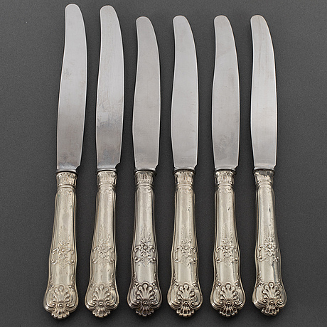 J lundberg, 6  silver knives,  stockholm 1837.