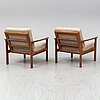 A pair of sven ellekaer 'borneo' easy chairs, for komfort denmark, second half of the 20th century.