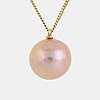 Cultured pink pearl necklace.