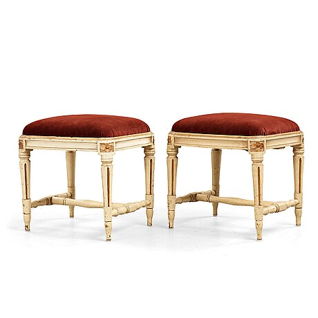 A pair of gustavian stools, late 18th century.