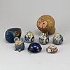 Lisa larson, 8 stoneware figurines, gustavsberg.