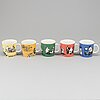 Five porcelain moomin characters mugs from arabia, finland, 1990-9.