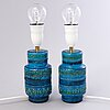 A pair of blue aldo londi table lamps, ceramic, bitossi italy 1960/70:s.