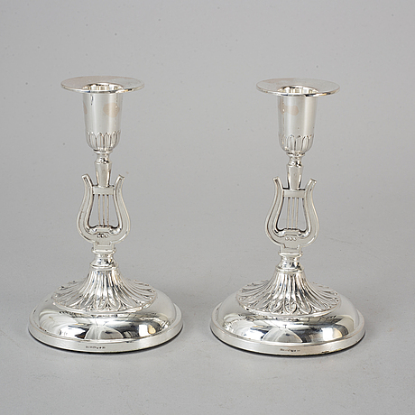 Six silver candle holders, gothenburg, 1657-65.