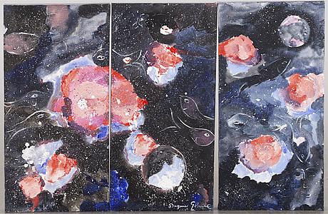 Dagmar glemme, triptych, oil on canvas, signed.