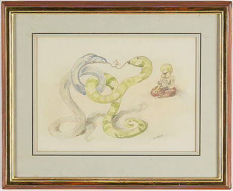 Robert hÖgfeldt, indian ink and water colour on paper, signed.