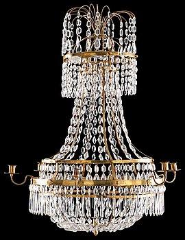 1015. A late Gustavian seven-light chandelier.