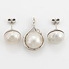 Earrings and pendant, 18k white gold and mabe pearls.
