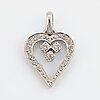 18k white gold pendant in the shape of a heart, with eight-cut diamonds.