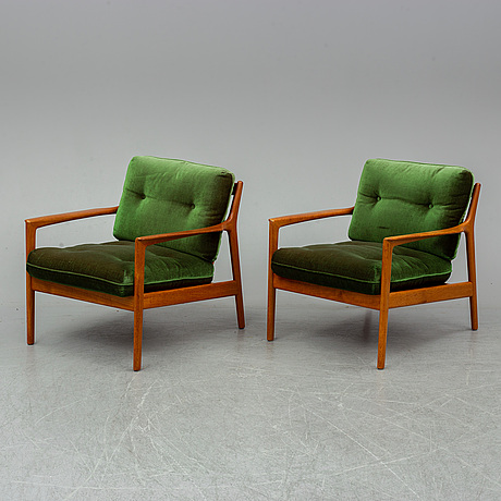 A pair of 'usa 75' easy chairs by folke ohlsson, dux.