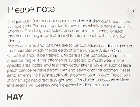 "Hay, puff, ""antique quilt ottoman""."