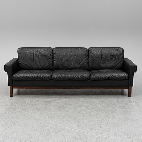 A scaninavian leather covered sofa, 1960's.