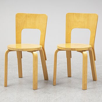 ALVAR AALTO, a pair of model 66 birch chairs from Artek, Finland.