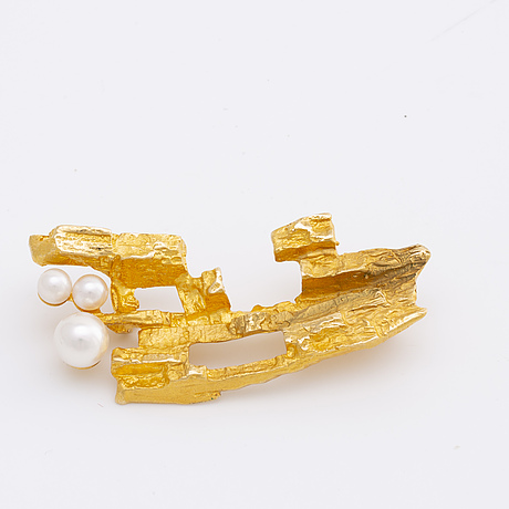 BjÖrn weckstrÖm, 18k gold and pearls lapponia finland weight a 10,5 gr.