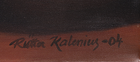 Riitta kalenius, olja på duk, signerad och daterad -04.