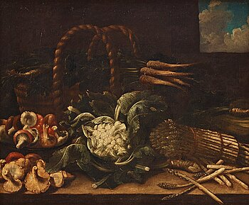 504. Simone del Tintore Follower of, Still life with asparagus, mushrooms, cauliflower and turnips.