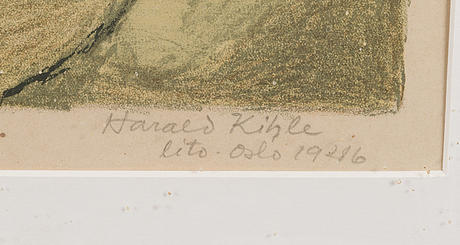 Harald kihle, litografia, signeerattu ja päivätty oslo 1946, numeroitu 169/200.
