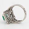 Platinum and emerald-cut emerald, brilliant and baguette cut diamond art déco, c. 30 - 40's.
