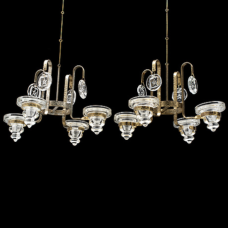 Bertil vallien, two chandeliers, second half of the 20th century.