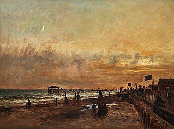 397. Olof Hermelin, Evening by the pier, scene from the United States of America.