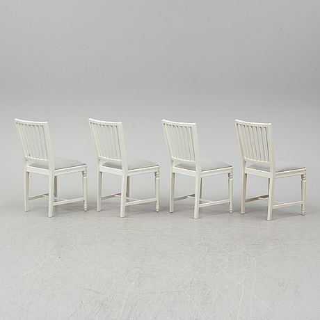 Four gustavian style chairs, late 20th century.