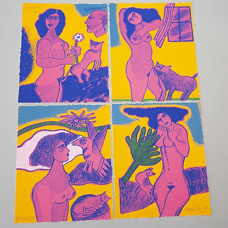 Beverloo corneille, four colour litographies, numbered 19/200, signed, dated -88.